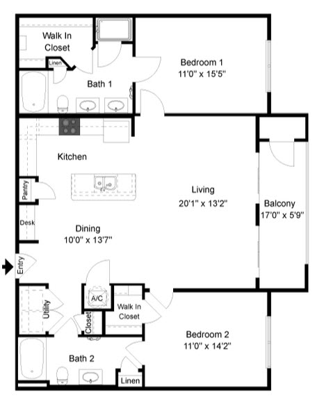 1,162 sq. ft. B2 floor plan