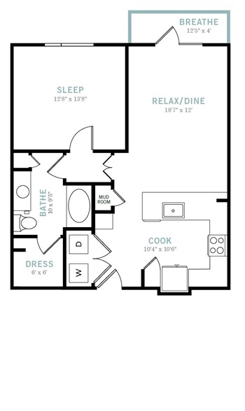 804 sq. ft. A5 floor plan