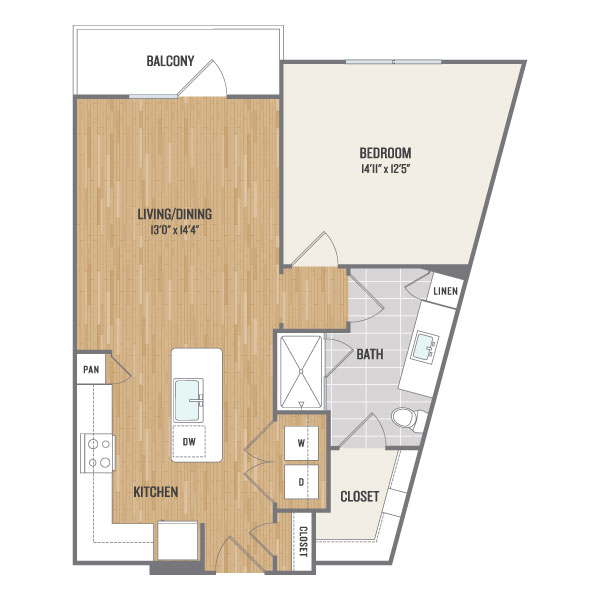 715 sq. ft. A4 floor plan
