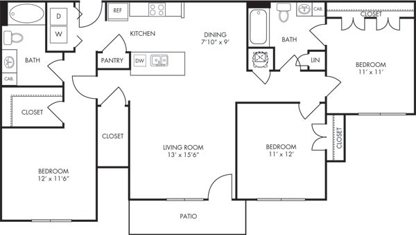 1,243 sq. ft. Phoenix floor plan