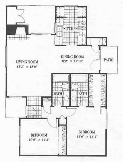 1,100 sq. ft. B4 floor plan