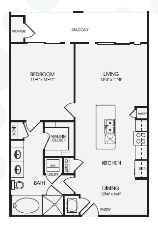 832 sq. ft. Maison/A10 floor plan