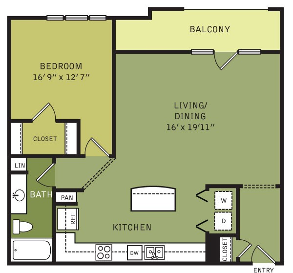 955 sq. ft. A2ALT (II) floor plan