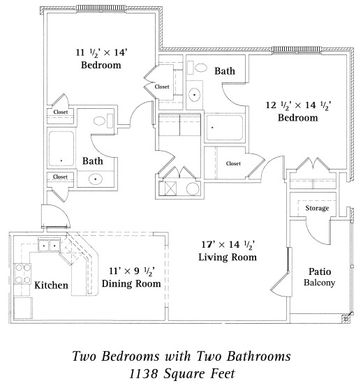 1,138 sq. ft. Hampton floor plan