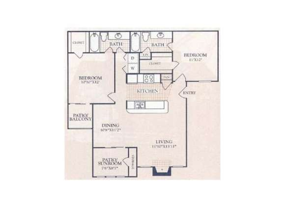 978 sq. ft. A4S floor plan