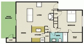 800 sq. ft. 1D1 floor plan
