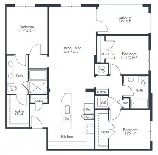 1,413 sq. ft. C3 floor plan