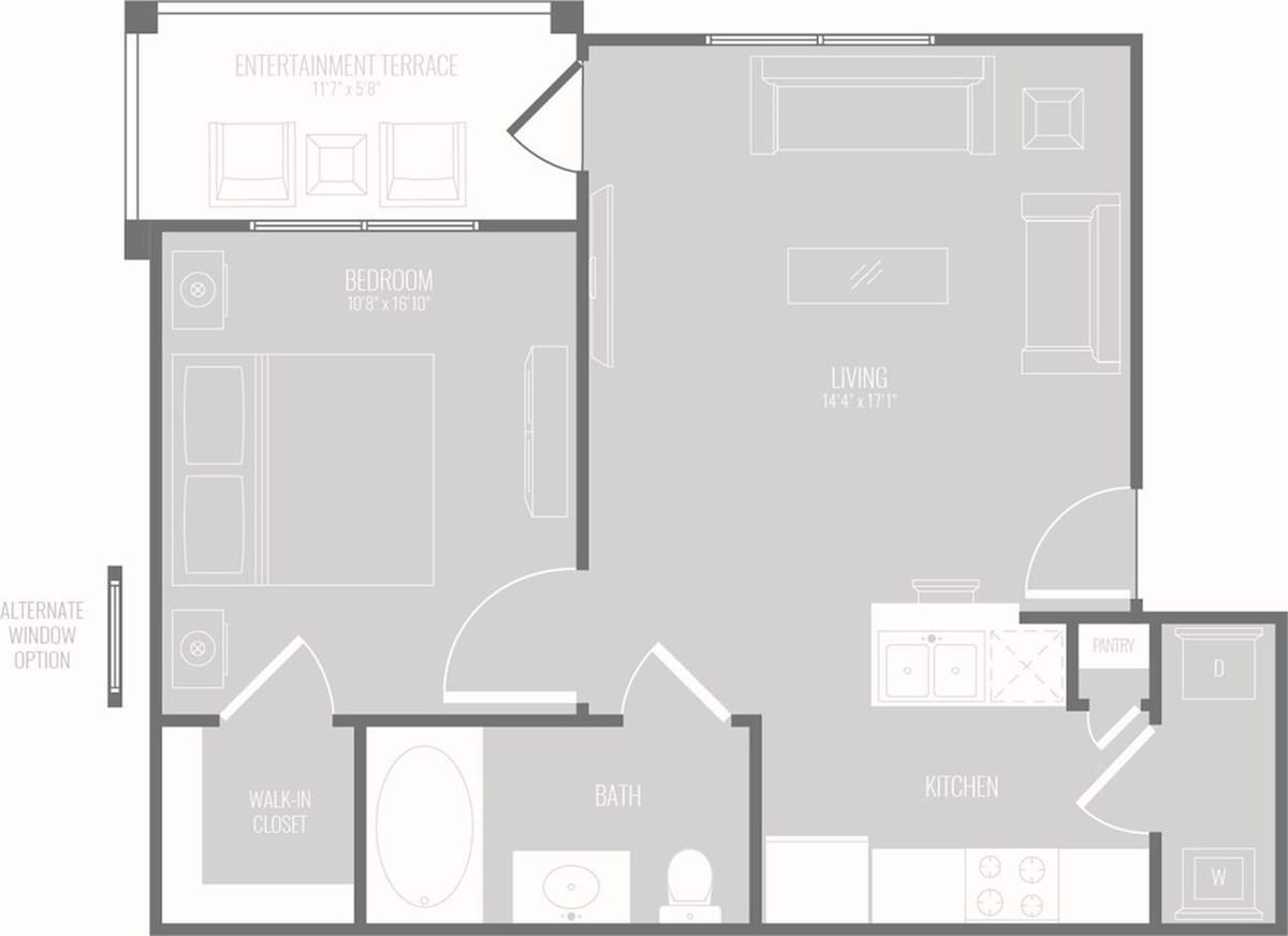 719 sq. ft. Drift floor plan