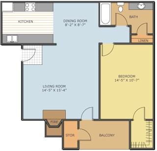 800 sq. ft. AZALEA floor plan