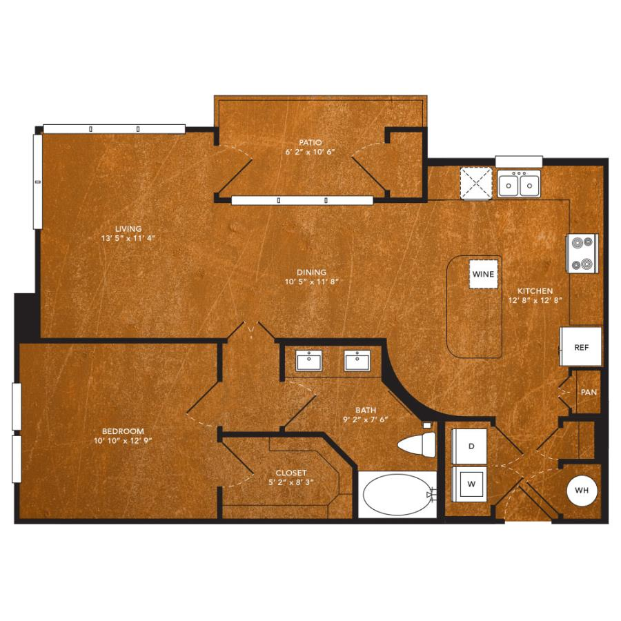 848 sq. ft. A9A floor plan