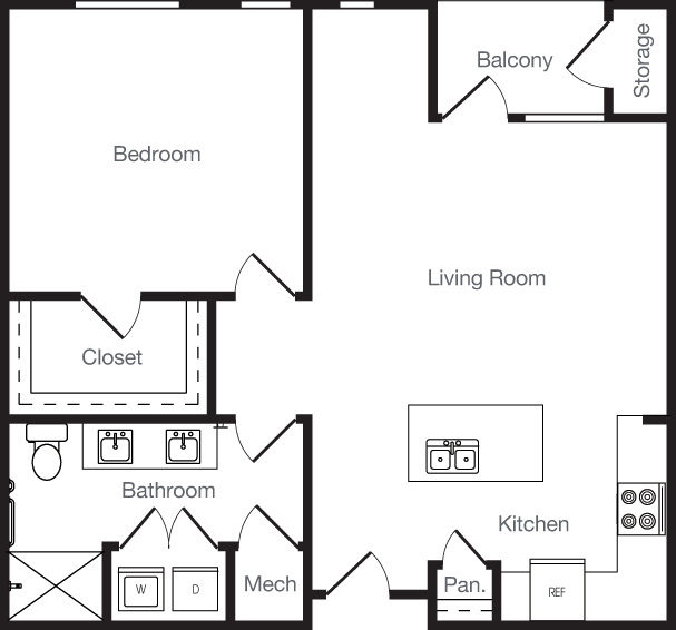 809 sq. ft. 1D floor plan
