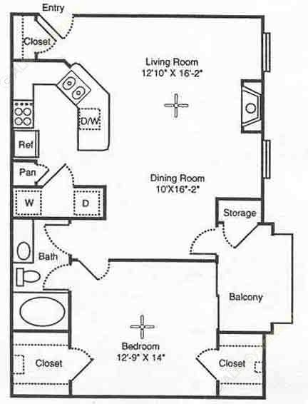 808 sq. ft. Verona floor plan
