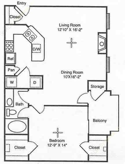 808 sq. ft. Verona floor plan
