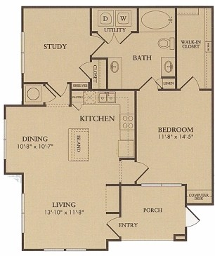 878 sq. ft. Augusta floor plan