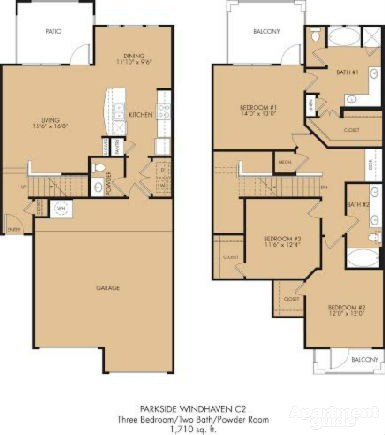 1,710 sq. ft. C2 floor plan