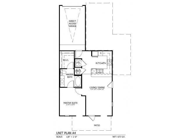 707 sq. ft. A.4G floor plan