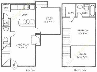 757 sq. ft. WT floor plan