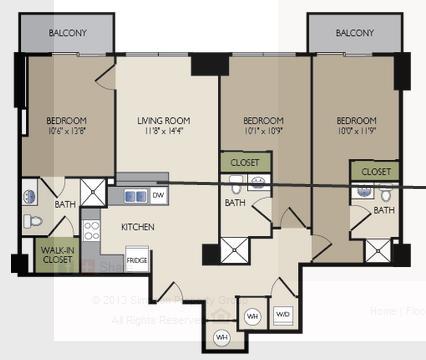 1,382 sq. ft. H floor plan