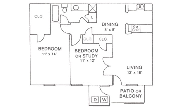 904 sq. ft. floor plan