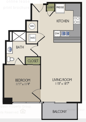 679 sq. ft. B floor plan