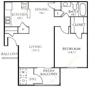 473 sq. ft. A floor plan