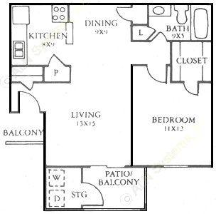 473 sq. ft. A floor plan