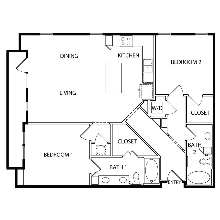 1,271 sq. ft. B3-2 floor plan