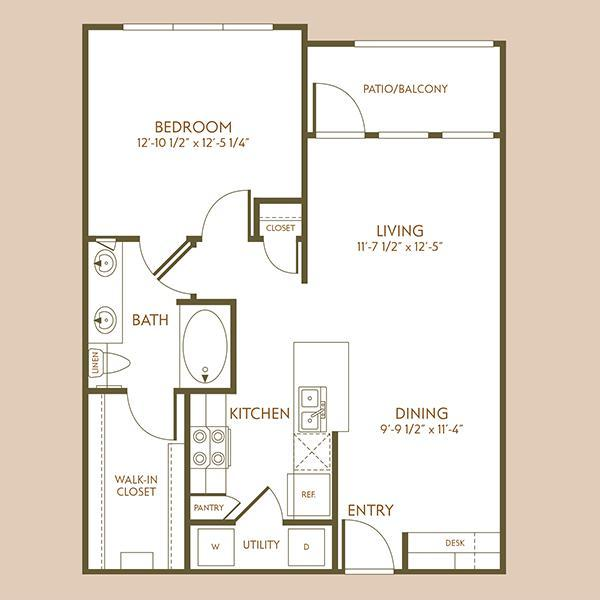 760 sq. ft. A1 floor plan
