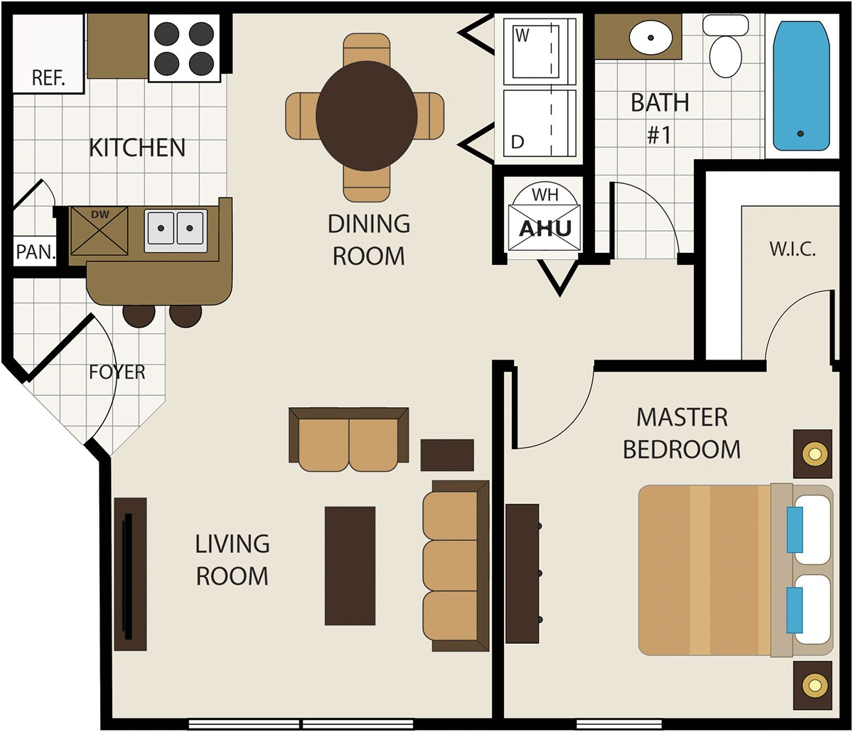 688 sq. ft. 60 floor plan