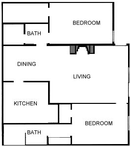 1,224 sq. ft. C floor plan