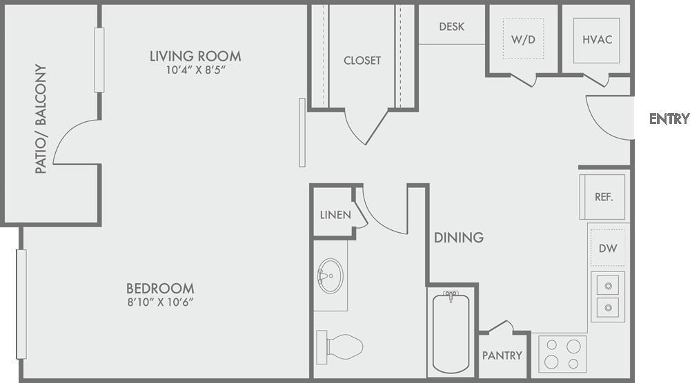 611 sq. ft. S2 floor plan
