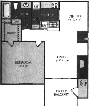 570 sq. ft. 50% floor plan