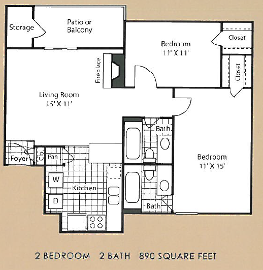 890 sq. ft. B1 floor plan