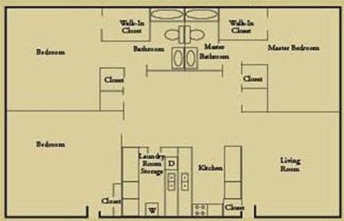 1,260 sq. ft. C1 floor plan