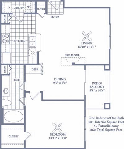 801 sq. ft. A4 floor plan