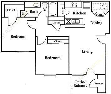 809 sq. ft. floor plan