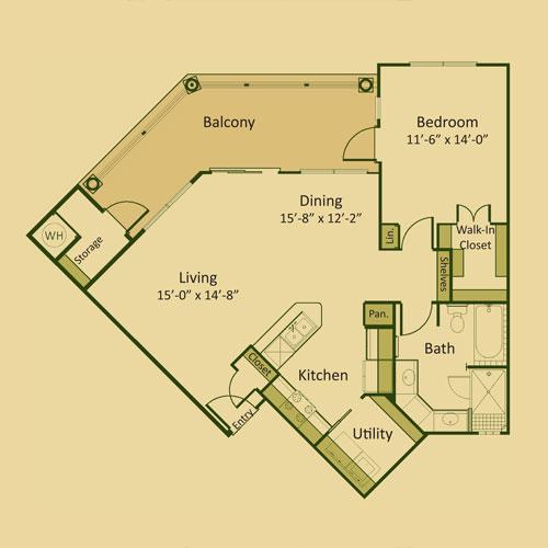918 sq. ft. 1C floor plan
