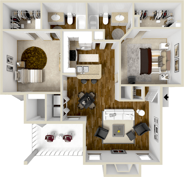 1,070 sq. ft. B1S floor plan