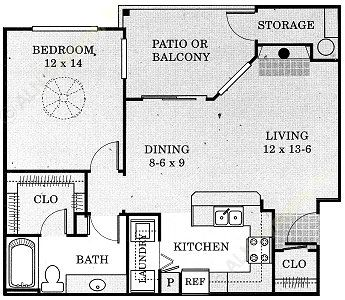 720 sq. ft. Brazos - A2 floor plan