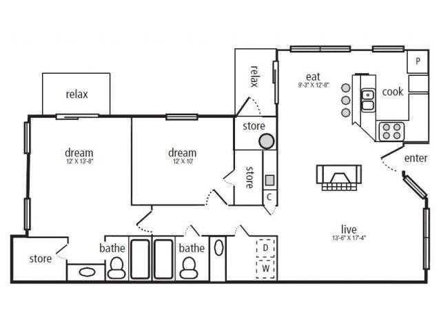 1,083 sq. ft. Evergreen floor plan