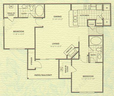 1,028 sq. ft. Bradford floor plan