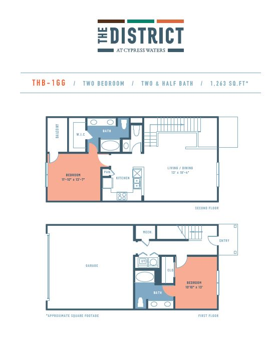 1,263 sq. ft. THB1GG floor plan
