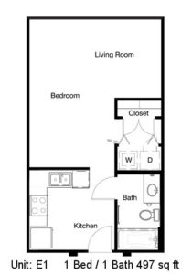497 sq. ft. E1 floor plan