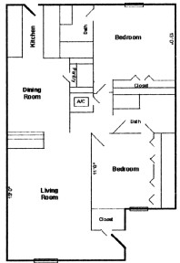 982 sq. ft. A floor plan
