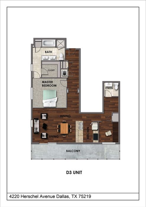 1,132 sq. ft. D3 floor plan