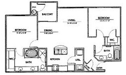 1,044 sq. ft. B2-Ph I floor plan