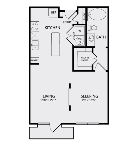 650 sq. ft. A00.1 floor plan