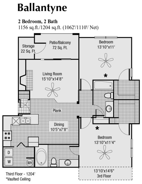 1,110 sq. ft. to 1,204 sq. ft. J floor plan