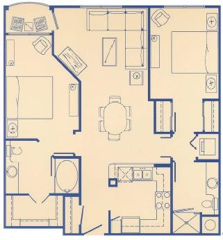 969 sq. ft. E floor plan