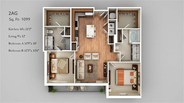 1,099 sq. ft. 2AG floor plan